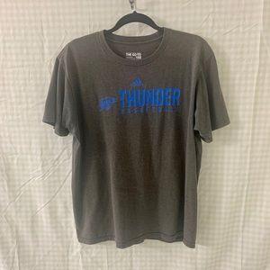 Adidas short sleeve T-shirt in Gray / Thunder OKC
